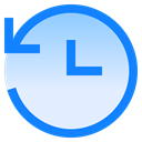 Blue clock looped arrow